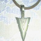 NEW CAST PEWTER ARROWHEAD USA MADE TRIBAL LINES WESTERN ARROW HEAD PENDANT NECKLACE