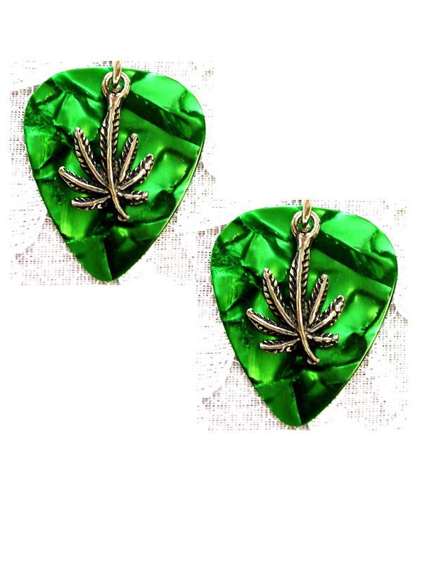 MUSICAL DEEP GREEN GUITAR PICK w POT LEAF CAST PEWTER CHARM DANGLING ROCKER EARRINGS