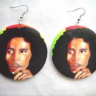 BIG IN COLOR OIL PAINT LOOK BOB MARLEY IN RASTA RED YELLOW & GREEN WOOD EARRINGS