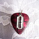 NEW DEEP RED GUITAR PICK w SMALL RAZOR BLADE PEWTER CHARMS PENDANT ADJ NECKLACE