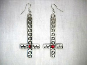 XL PEWTER OCCULT SATANIC INVERTED CROSS WITH SKULLS & RED CRYSTAL FULL PENDANT EARRINGS