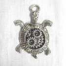 NEW STEAMPUNK BOX TURTLE GEARS in SHELL TOP PEWTER PENDANT ON ADJ CORD NECKLACE
