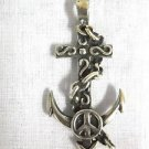 NEW SOLID CHAIN WRAPPED ANCHOR with PEACE SIGN USA CAST PEWTER ADJ CORD NECKLACE