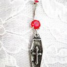 GOTHIC DEATH VAMPIRE COFFIN w CROSS DANGLING CHARM ON 14g RED CZ BELLY RING