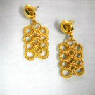 PREOWNED ELEGANT TEXTURED 4 ROW CHAIN LINKS GOLDTONE STUD POST FASHION EARRINGS