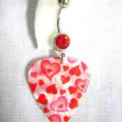PEARLY WHITE w MULTIPLE FLOATING HEARTS LOVE GUITAR PICK 14g RED CZ BELLY RING BARBELL