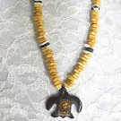 LIGHT & DARK BROWN WOOD SQUARE SURF BEADS w WHITE & SEA TURTLE SHELL PENDANT NECKLACE