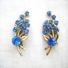 PRE-OWNED SILVERTONE LEAF & COBALT BLUE RHINESTONES FLOWERS CLIP ON PAIR EARRINGS
