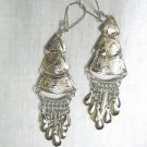 4 TIER PYRAMID w FLUTE PLAYER & MOUNTAINS w DANGLING TASSELS WIRE EARRINGS