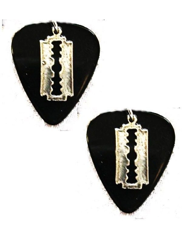 SOLID BLACK GUITAR PICK w  TINY RAZOR BLADE PEWTER CHARMS HOOK EARRINGS