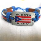 BROWN LEATHER PUERTO RICO METAL FLAG w TEXT & RED WHITE & BLUE CORD ADJ BRACELET