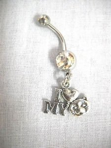 I LOVE MY CAT KITTY FACE & HEART PET LOVERS CHARM CZ BELLY RING NAVEL JEWELRY