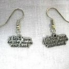I LOVE YOU TO THE MOON AND BACK STATEMENT TEXT PEWTER DANGLING CHARM HOOK EARRINGS