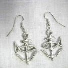 SEA BOAT NAUTICAL ST JUSTIN FISH & ANCHOR 2 SIDED PEWTER PENDANT EARRINGS