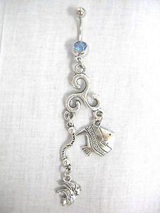 SEA LIFE OCEAN REEF ANGEL FISH & TWIN FISH ON BAR CHARMS 14g BLUE CZ BELLY RING