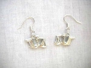 NEW BABY - SPECIAL DELIVERY STORK FLYING w BABY IN BLANKET PEWTER CHARM EARRINGS