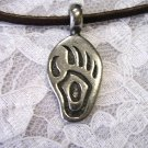 "THICK TRIBAL TOTEM BEAR CLAW BEAR / BEAR PAW TRACKS FOOT PRINT PEWTER PENDANT 22"" SUEDE NECKLACE"