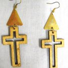 LIGHT DIRTY BLONDE WOODEN CROSS SILHOUETTE GOLDTONE ACCENTS DANGLING EARRINGS