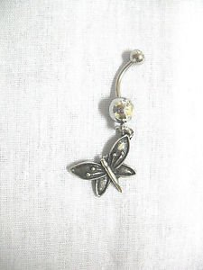 ANTIQUED PEWTER ANGLED BUTTERFLY DANGLING CHARM ON 14g CLEAR CZ BELLY RING