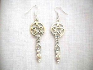 PENTACLE STAR & NATURE GODDESS DOUBLE PEWTER CHARMS DANGLING PAIR OF EARRINGS