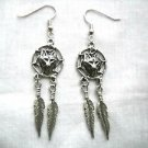 NEW CAST PEWTER WOLF HEAD FACE DREAM CATCHER w 2 FEATHERS DANGLING PAIR EARRINGS