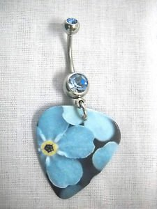 FUN SPRING FLOWERS BABY BLUE WILDFLOWERS FLORAL GUITAR PICK 14g BLUE CZ BELLY RING