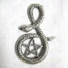 HUGE WICCA PENTACLE STAR SERPENT TWIST SNAKE PEWTER PENDANT ON ADJ CORD NECKLACE