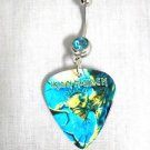 IRON MAIDEN EDDIE FEAR OF THE DARK PRINTED GUITAR PICK BLUE CZ BELLY BUTTON RING
