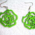NEW GRASS GREEN COLOR CUT OUT ROSE FLOWER WOODEN DANGLING FLOWERS EARRINGS