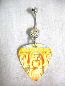 IRON MAIDEN / EDDIE POWERSLAVE PRINTED GUITAR PICK CLEAR CZ BELLY BUTTON RING