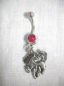 PRETTY EQUINE PONY PRANCING 2 SIDED CHARM ON 14g FUSCIA PINK CZ BELLY RING NAVEL BAR