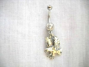 925 STERLING SIGNED ENGRAVED EAGLE LANDING on 14g CLEAR CZ BELLY RING BARBELL