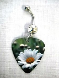 SUMMER SUNSHINE & DAISIES DAISY BUDS FLOWERS GUITAR PICK 14g CLEAR CZ CZ BELLY RING
