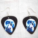 FULL MOON NIGHT SKY HOWLING WOLF HEAD APEX WILDLIFE GUITAR PICK EARRINGS