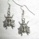 THE FLY / FLIES INSECT HELP ME HAND CAST DANGLING PEWTER PENDANT EARRINGS