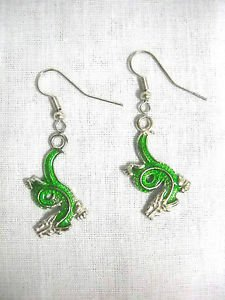 NEW CURVY GREEN ENAMEL CHINESE DRAGON CHARMS DANGLING DROP HOOK WIRE FASHION EARRINGS