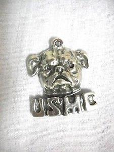 NEW USMC MARINE CORE BULL DOG HEAD USA CAST PEWTER PENDANT ON ADJ CORD NECKLACE