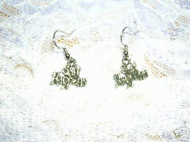 NEW TEXT S**T HAPPENS CAST PEWTER DANGLING CHARMS HOOK WIRE EARRINGS
