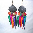 BRIGHT BOHEMIAN COCONUT SHELL BLACK & DANGLING SPIKES ASST BRIGHT COLORS LONG EARRINGS