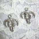 BULL HEAD SKULL w DOWN HORNS DANGLING CHARMS USA CAST PEWTER EARRINGS JEWELRY