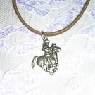 USA PEWTER ROPE READY COWBOY RIDING A RUNNING HORSE PENDANT ADJ CORD NECKLACE