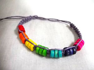 LILAC PURPLE MACRAME w COLORFUL WOOD BEADS BLUE GREEN RED TIE BRACELET OR ANKLET
