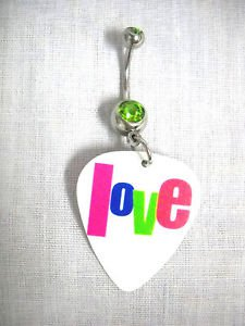 PINK BLUE LIME GREEN LOVE TEXT PRINTED WHITE GUITAR PICK LIME GRN CZ BELLY RING