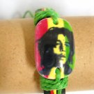 BLACK LEATHER RASTA RED GREEN YELLOW YOUNG BOB MARLEY GREEN CORD TIES BRACELET