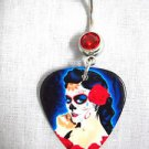 INK'D TATTOO DAY OF THE DEAD PIN UP GIRL SUGAR SKULL WOMAN GUITAR PICK 14g RED CZ BELLY RING