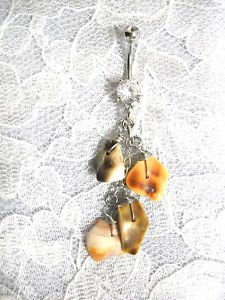 WIRE BAIL MULTI SEA SHELL CHIPS ON CHAIN NATURAL COLORS 14g CLEAR CZ BELLY RING BARBELL