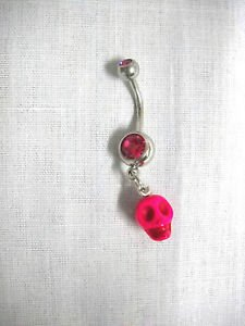 HOT PINK 3D HUMAN SKULL HEAD CHARM on FUSCIA PINK CZ BELLY RING NAVEL BARBELL