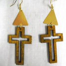 LARGE MEDIUM BROWN WOODEN CROSS SILHOUETTE w GOLDTONE ACCENTS DANGLING EARRINGS