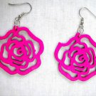NEW BRIGHT FUSCIA PINK CUT OUT ROSE FLOWER WOODEN DANGLING FLOWERS EARRINGS