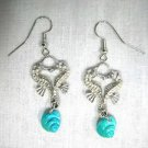 NEW 3D PEWTER SEA HORSE HEART KISS & REAL WHOLE SHELL DOUBLE DANGLING EARRINGS